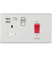 ML ACCESSORIES 45A Dp Switch & 13A Switched Socket With Dual Usb Charger 2.4A (Brushed Chrome With White Insert)