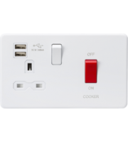 ML ACCESSORIES 45A Dp Switch & 13A Switched Socket With Dual Usb Charger 2.4A - (Matt White)