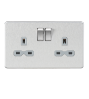 ML Accessories Screwless 13A 2G DP Switched Socket (Brushed Chrome)