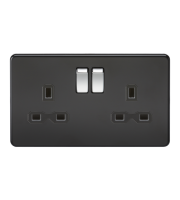 ML Accessories Screwless 13A 2G DP Switched Socket (Matt Black)