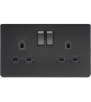 ML ACCESSORIES Screwless 13A 2G Dp Switched Socket - Matt Black