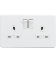 ML Accessories Screwless 13A 2G DP Switched Socket (Matt White)