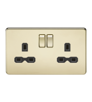 ML Accessories Screwless 13A 2G DP Switched Socket (Polished Brass)