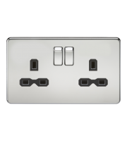 ML Accessories Screwless 13A 2G DP Switched Socket (Polished Chrome)