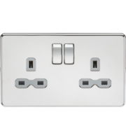 ML ACCESSORIES Screwless 13A 2G Dp Switched Socket - Polished Chrome With Grey Insert
