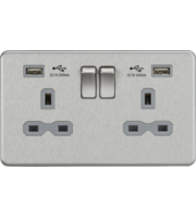 13A 2G Switched Socket With Dual Usb Charger (2.4A) (Brushed Chrome With Grey Insert)