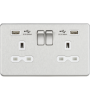 ML ACCESSORIES 13A 2G Switched Socket With Dual Usb Charger (2.4A) (Brushed Chrome With White Insert)