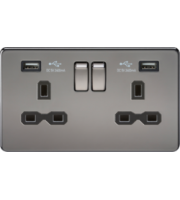 ML ACCESSORIES 13A 2G Switched Socket With Dual Usb Charger (2.4A) - (Black Nickel With Black Insert)