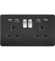 ML ACCESSORIES 13A 2G Switched Socket With Dual Usb Charger (2.4A) - (Matt Black With Chrome Rockers)