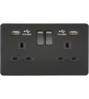 ML ACCESSORIES 13A 2G Switched Socket With Dual Usb Charger (2.4A) - (Matt Black)