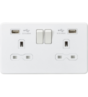 ML ACCESSORIES 13A 2G Switched Socket With Dual Usb Charger (2.4A) - (Matt White)