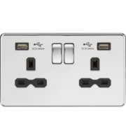 ML ACCESSORIES 13A 2G Switched Socket With Dual Usb Charger (2.4A) - Polished Chrome With Black Insert