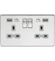 ML ACCESSORIES 13A 2G Switched Socket With Dual Usb Charger (2.4A) - Polished Chrome With Grey Insert