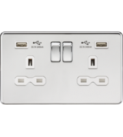 ML ACCESSORIES 13A 2G Switched Socket With Dual Usb Charger (2.4A) - (Polished Chrome With White Insert)