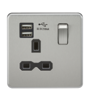ML Accessories Screwless 13A 1G Socket with Dual USB (Brushed Chrome)