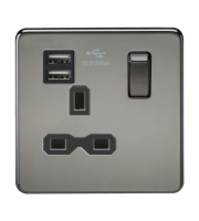 ML Accessories Screwless 13A 1G Socket with Dual USB (Black Nickel)