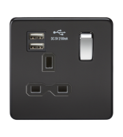 ML Accessories Screwless 13A 1G Socket with Dual USB (Matt Black)