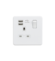 ML Accessories Screwless 13A 1G Socket with Dual USB (Matt White)