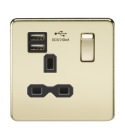 ML Accessories Screwless 13A 1G Socket with Dual USB (Polished Brass)