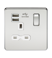 ML Accessories Screwless 13A 1G Socket with Dual USB (Polished Chrome)