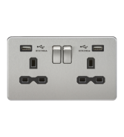 ML Accessories Screwless 13A 2G Switched Socket with Dual USB (Brushed Chrome)