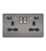 ML Accessories Screwless 13A 2G Switched Socket with Dual USB (Black Nickel)