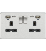 ML ACCESSORIES Screwless 13A Smart 2G Switched Socket W/Dual Usb Charger Brushed Chrome/Black
