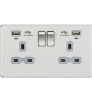 ML ACCESSORIES Screwless 13A Smart 2G Switched Socket W/Dual Usb Charger 2.4A - Brushed Chrome/Grey