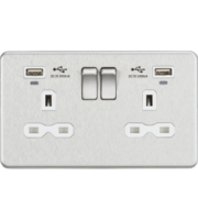 ML ACCESSORIES Screwless 13A 2G Smart Switched Socket W/Dual Usb Charger Brushed Chrome/White