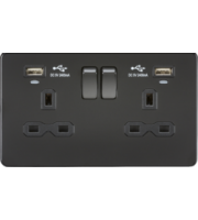 ML ACCESSORIES 13A 2G Switched Socket, Dual Usb (2.4A) With Led Charge Indicators - (Matt Black)