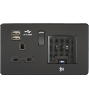 ML ACCESSORIES Screwless 13A Socket, Usb Chargers (2.4A) And Bluetooth Speaker (Matt Black)