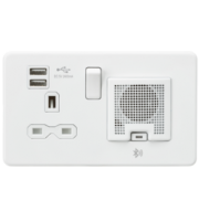 ML ACCESSORIES Screwless 13A Socket, Usb Charger And Bluetooth Speaker Combo - Matt White