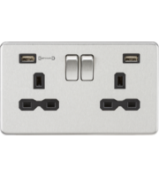 ML ACCESSORIES 13A 2G Dp Switched Socket With Fast Type a Usb Charger Port (4.0A) - (Brushed Chrome With Blk Insert)