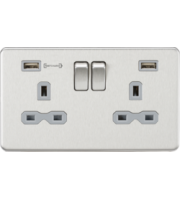ML ACCESSORIES 13A 2G Dp Switched Socket With Fast Type a Usb Charger Port (4.0A) - (Brushed Chrome With Grey Insert)