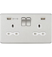 ML ACCESSORIES 13A 2G Dp Switched Socket With Fast Type a Usb Charger Port (4.0A) - (Brushed Chrome W/ White Insert)