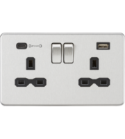 ML ACCESSORIES 13A 2G Dp Switched Socket With Fast Type C Usb Charger Port (4.0A) (Brushed Chrome With Blk Insert)
