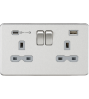 ML ACCESSORIES 13A 2G Dp Switched Socket With Fast Type C Usb Charger Port (4.0A) - Brushed Chrome With Grey Insert