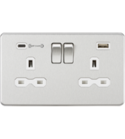 ML ACCESSORIES 13A 2G Dp Switched Socket With Fast Type C Usb Charger Port (4.0A) - (Brushed Chrome W/ White Insert)