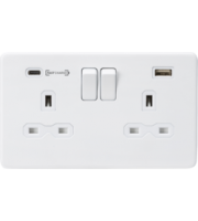 ML ACCESSORIES 13A 2G Dp Switched Socket With Fast Type C Usb Charger Port (4.0A) (Matt White)