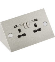 ML Accessories 13A 2G Mounting Socket with Dual USB (Stainless Steel)