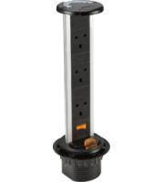 Knightsbridge 3G Recess Mount Pop Up Socket (Black)