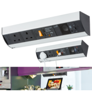 Knightsbridge Under Cabinet Power Station with Dual USB Charger (2.1A) and Bluetooth Speaker (Silver)