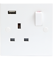ML ACCESSORIES 13A 1G Dp Switched Socket With Usb Charger Port 5V Dc 1A