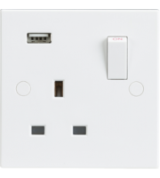 ML ACCESSORIES 13A 1G Switched Socket With Usb Charger Slot 5V Dc 2A