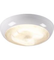 ML ACCESSORIES IP44 16W Hf Polo Bulkhead With Prismatic Diffuser And White Base