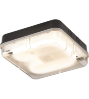 ML ACCESSORIES IP65 28W Hf Square Emergency Bulkhead With Prismatic Diffuser And Black Base