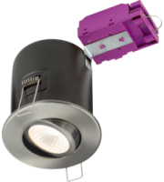 ML ACCESSORIES 230V Tilt GU10 Fire-rated Downlight Brushed Chrome