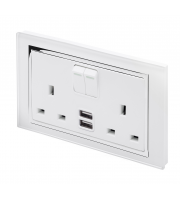 Retro Touch Crystal 13A DP Switched Socket with Dual USB (White CT)