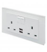 Retro Touch Crystal 13A DP Switched Socket with Dual USB (White PG)