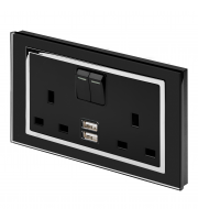 Retro Touch Crystal 13A DP Switched Socket with Dual USB (Black CT)